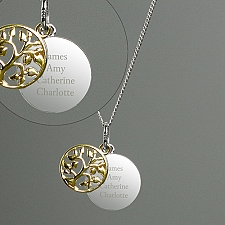 Personalised Sterling Silver Family Tree Necklace Delivery to UK