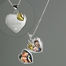 Personalised Sterling Silver Heart Locket With Diamond Delivery to UK