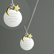 Personalised Moon and Stars Sterling Silver Necklace Delivery to UK