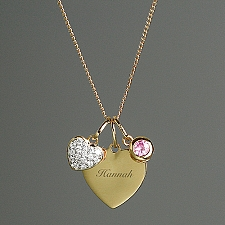 Personalised Sterling Silver and Gold Heart Necklace Delivery to UK