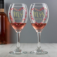 Personalised Mr and Mrs Confetti Hearts Pair of Wine Glasses Delivery to UK