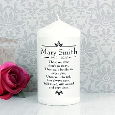 Personalised Sentiments Pillar Candle Delivery to UK