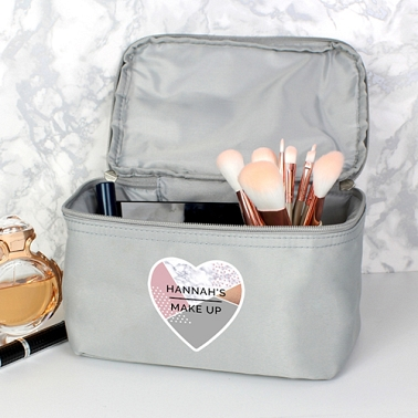Personalised Geometric Grey Make Up Wash Bag Delivery to UK