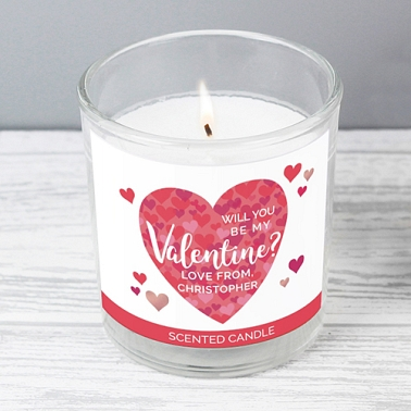 Personalised Valentines Day Confetti Hearts Scented Jar Candle Delivery to UK