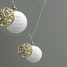 Personalised Sterling Silver Family Tree Necklace