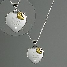 Sterling Gold and Diamond Heart Locket Delivery to UK