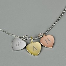 Personalised Rose Gold and Silver Hearts Necklace Delivery to UK