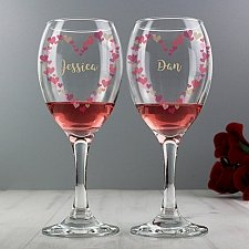Personalised Confetti Hearts Wedding Pair of Glasses Delivery to UK