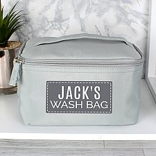 Personalised Classic Grey Make Up Wash Bag Delivery to UK