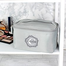 Geometric Initial Grey Make Up Wash Bag Delivery to UK