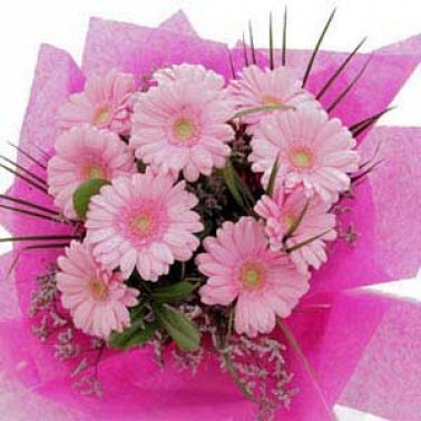 10 Pink Gerberas flowers bouquet delivery to China