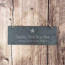 Personalised Star Motif Hanging Slate Plaque