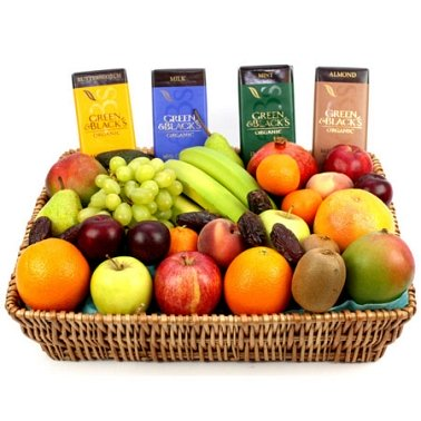 Green and Black Fruit Basket delivery to UK [United Kingdom]